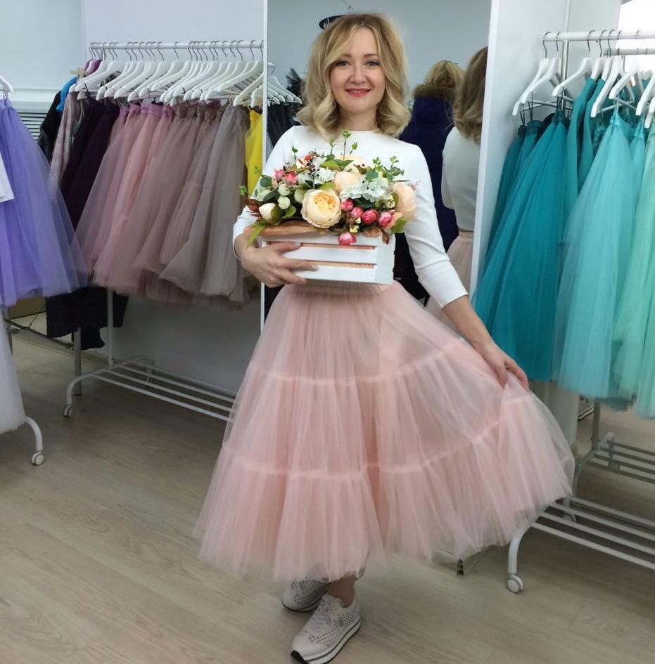 модные юбки весна лето 2019 года: пачка миди персиковая