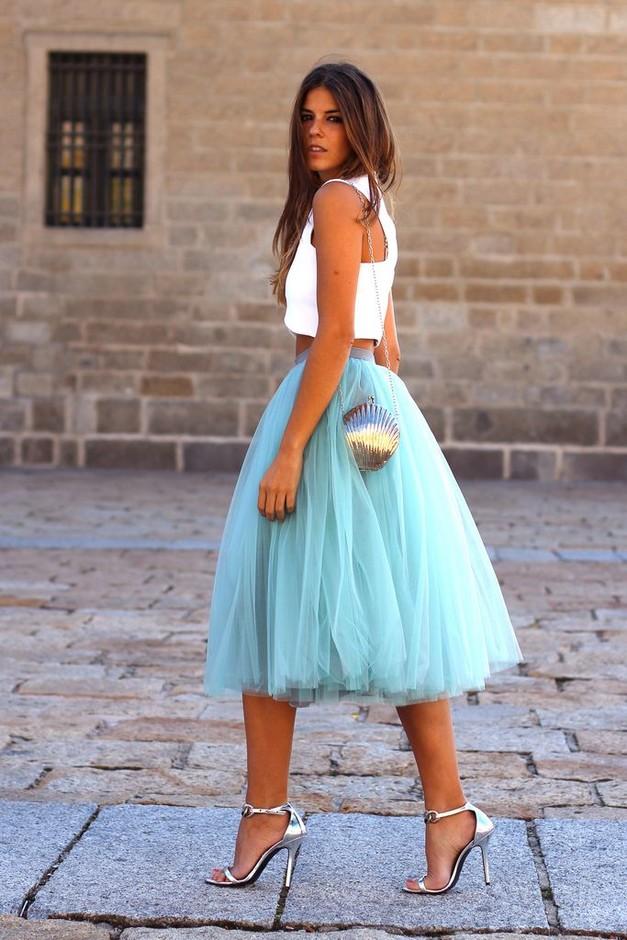 модные юбки весна лето 2019 года: пачка голубая по колено
