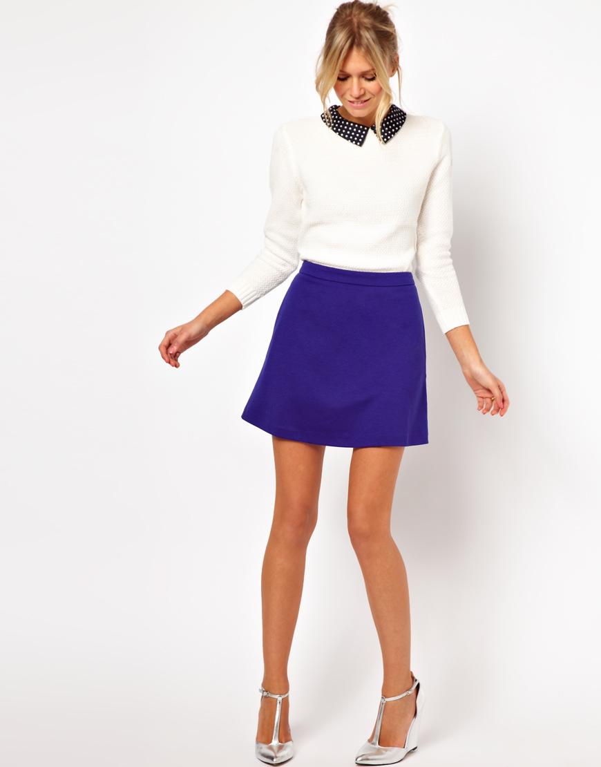модные юбки весна лето 2019 года: трапеция синяя короткая