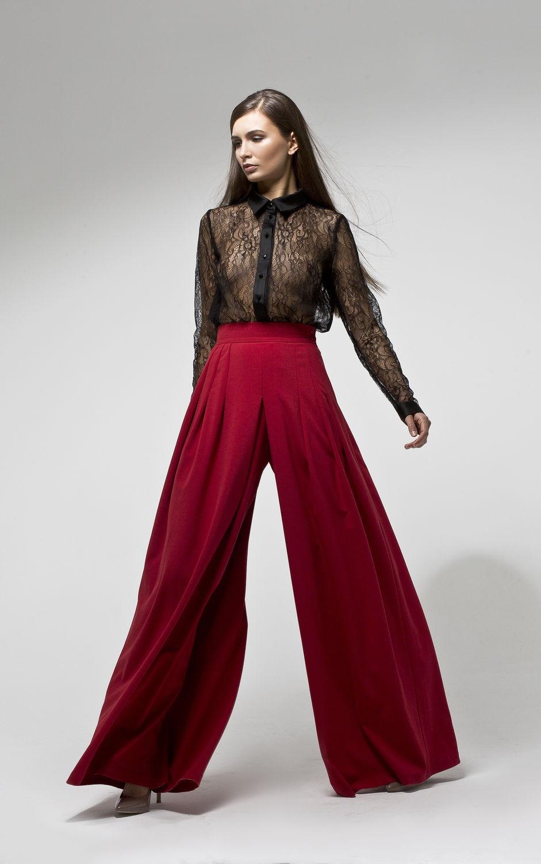 юбка 2019 фото новинки весна лето: брюки бордовые