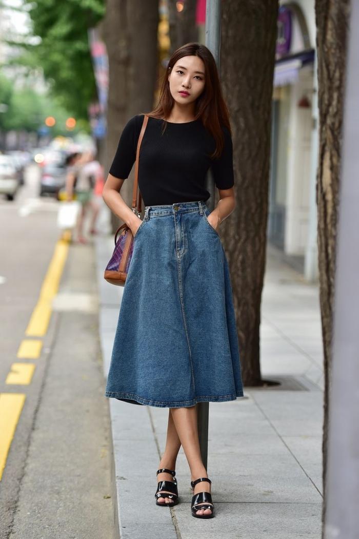 модные юбки весна лето 2019: джинсовая а-силуэт по колено