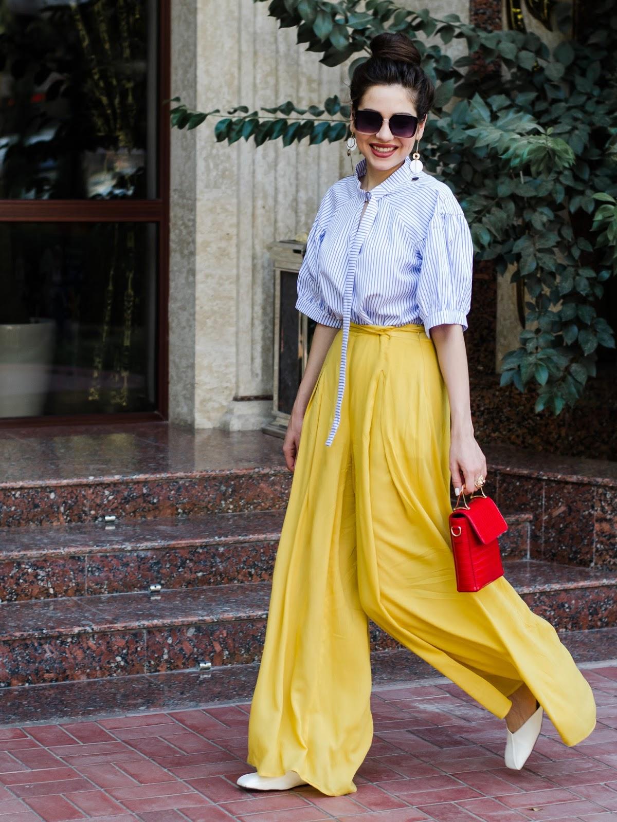 юбка 2019 фото новинки весна лето: брюки желтые