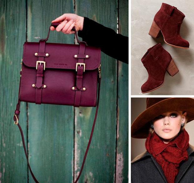 цвет марсала: сумка ботинки