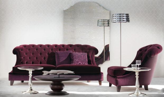 цвет марсала в интерьере: диван и кресло