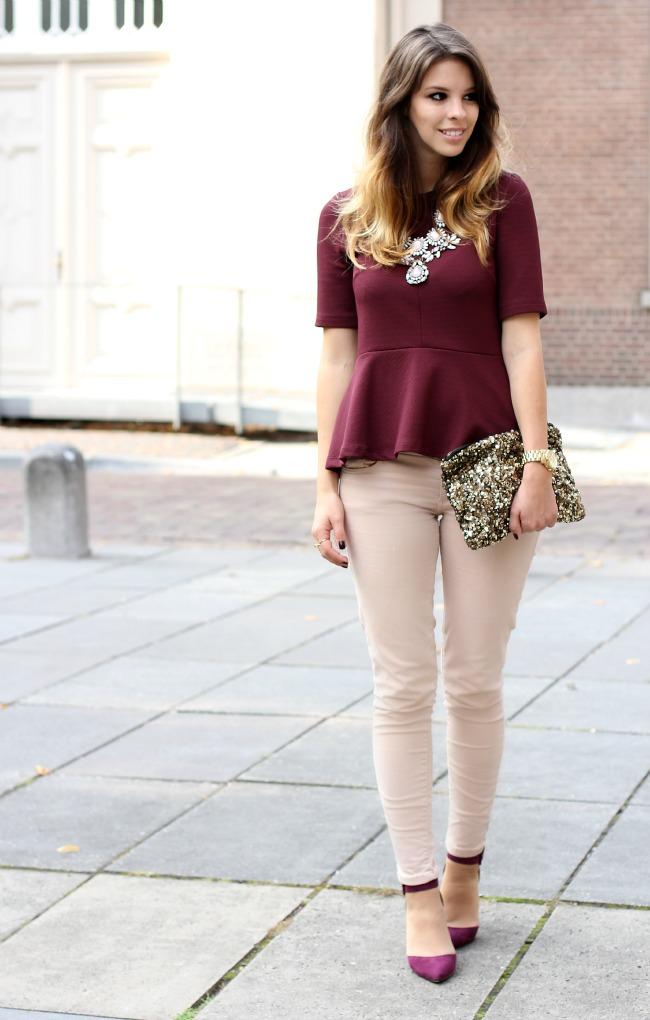 цвет марсала: блузка с коротким рукавом