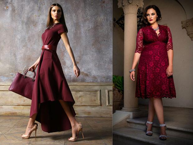 цвет марсала: платья
