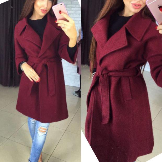 цвет марсала: пальто с поясом