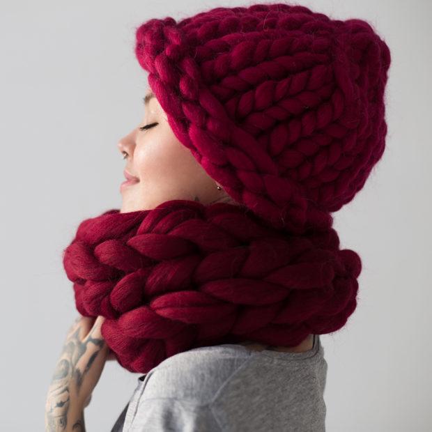 цвет марсала это какой: шапка и шарф грубая вязка