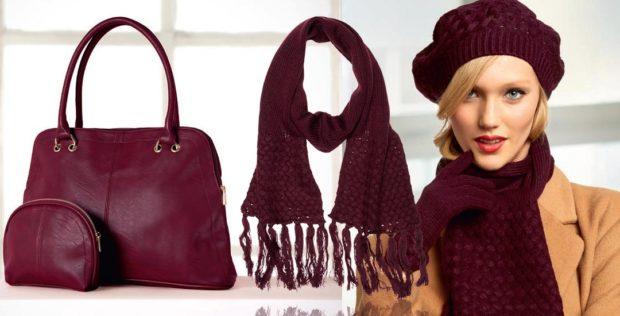цвет марсала в одежде: сумка шарф берет