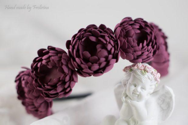 цвет марсала в одежде: ободок цветочки