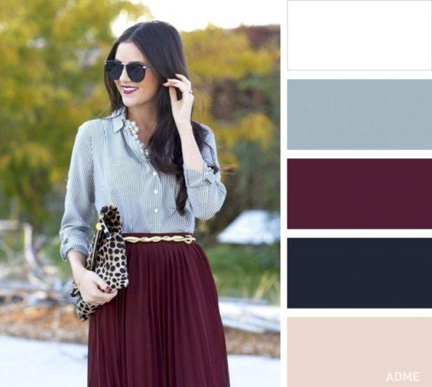 цвет марсала сочетание с другими цветами: юбка рубашка светлая