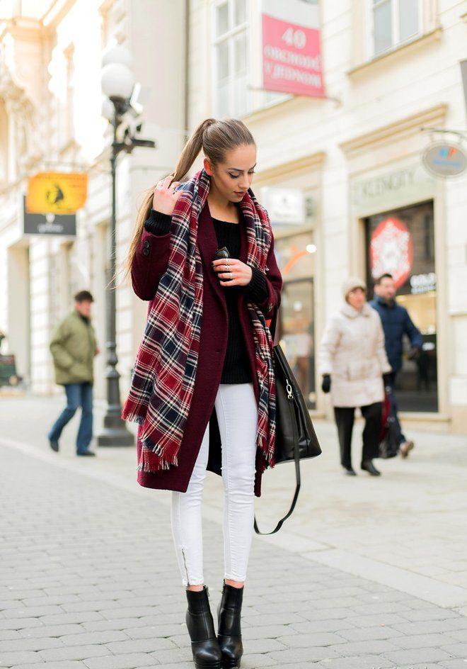 цвет марсала сочетание с другими цветами: пальто под белые штаны