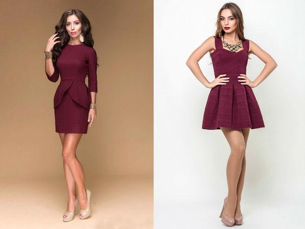 цвет марсала: короткие платья