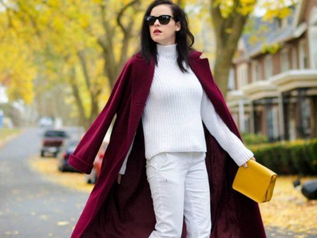 цвет марсала сочетание с другими цветами: пальто под белый брючный костюм