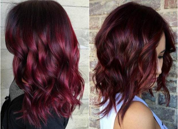 цвет волос марсала: средняя длина