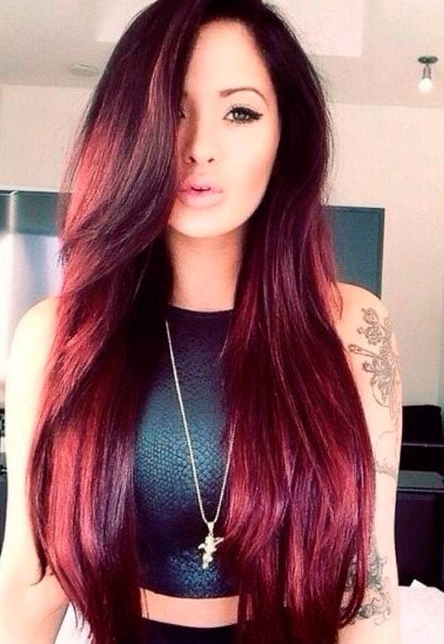 цвет волос марсала: яркие