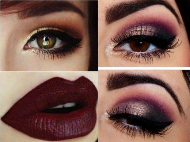 цвет марсала: макияж вечерний