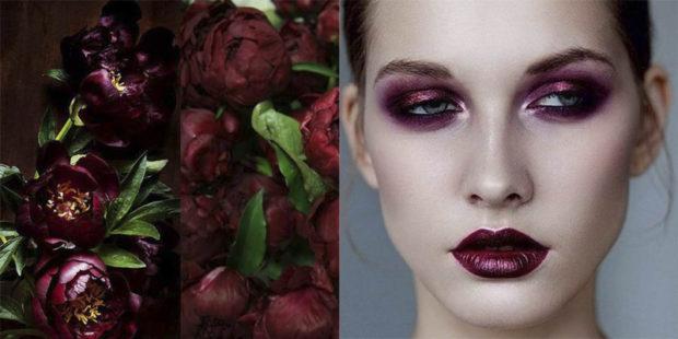 цвет марсала: яркий макияж