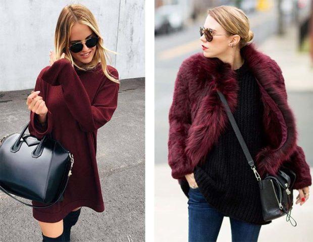 цвет марсала: платье-свитер шубка короткая