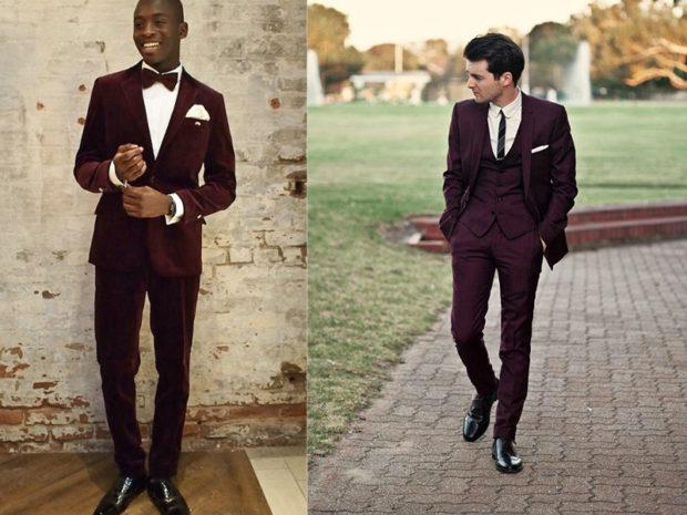 мужской костюм цвет марсала: классический на свадьбу