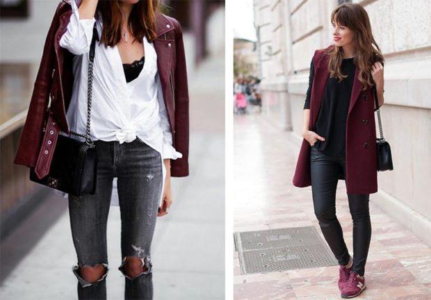 цвет марсала: косуха пальто без рукава