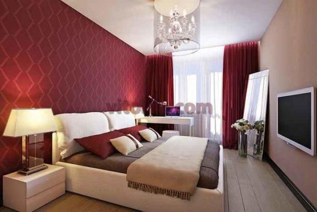 цвет марсала в интерьере: стены спальни