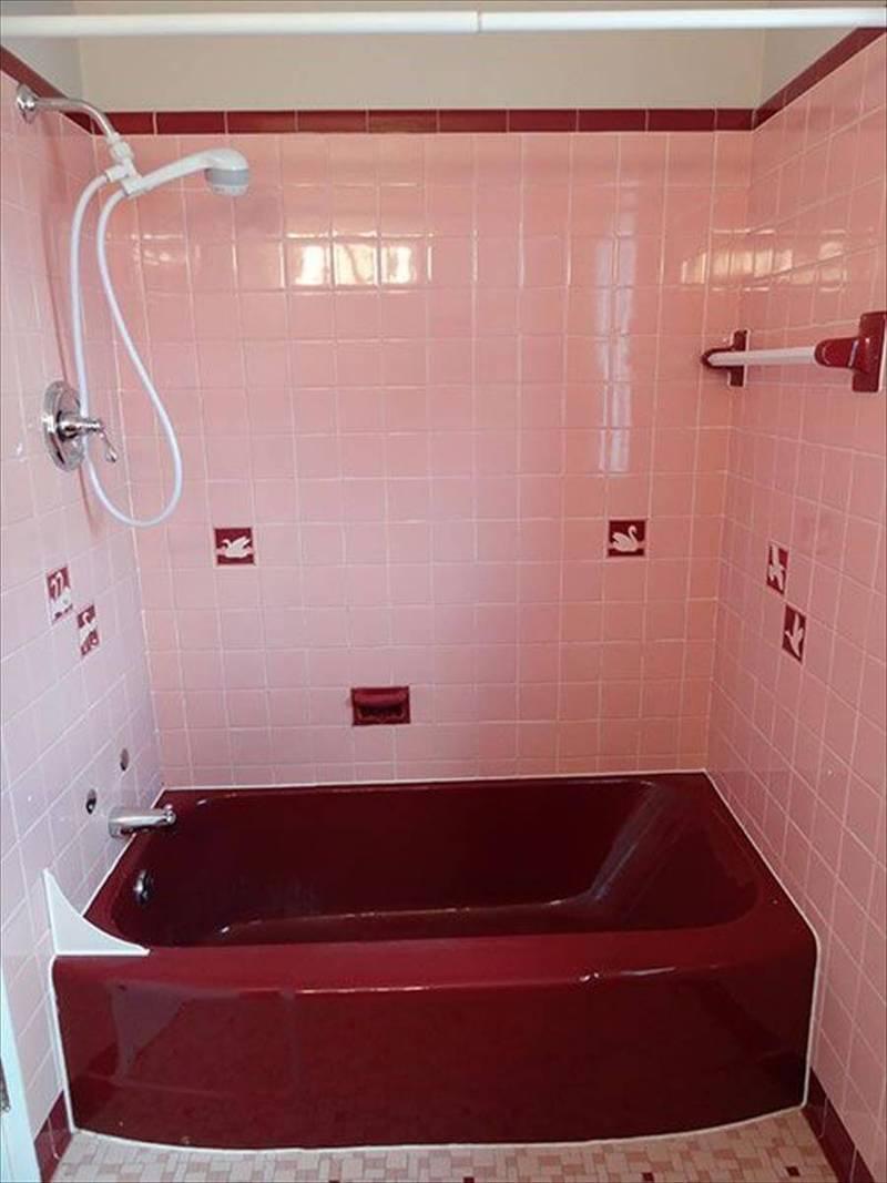 цвет марсала в интерьере: ванная комната