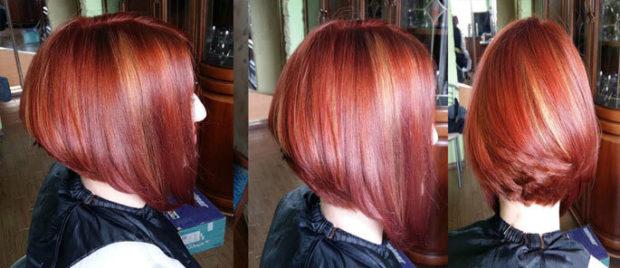 мелирование на огненый цвет волос