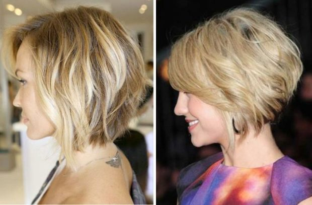 стрижка боб на короткие волосы с удлиненными прядями классический