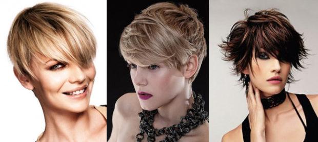 Креативные стрижки на короткие волосы пикси с косыми челками