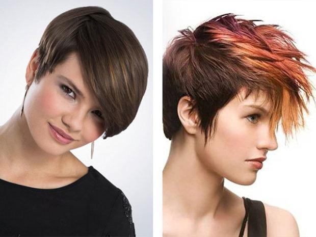 Креативные стрижки на короткие волосы с косой челкой с челкой удлиненной