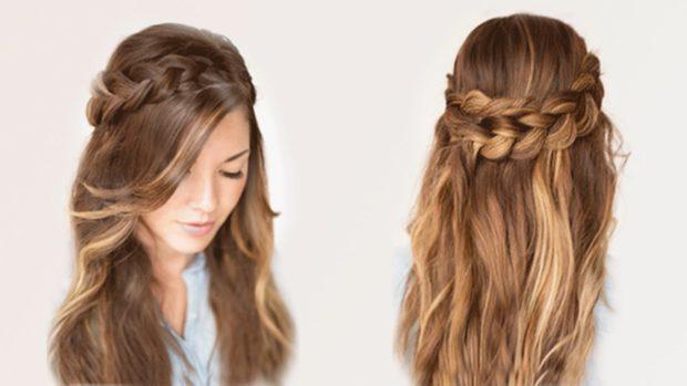 легкие прически: объемная коса на распущенных волосах