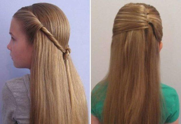 легкие прически: на длинные волосы убранная челка