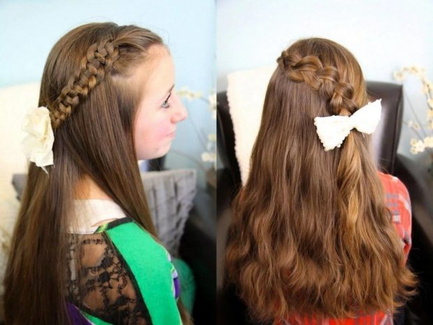 косы полукороны на длинных волосах
