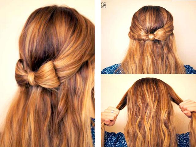 легкие прически: бантик из волос