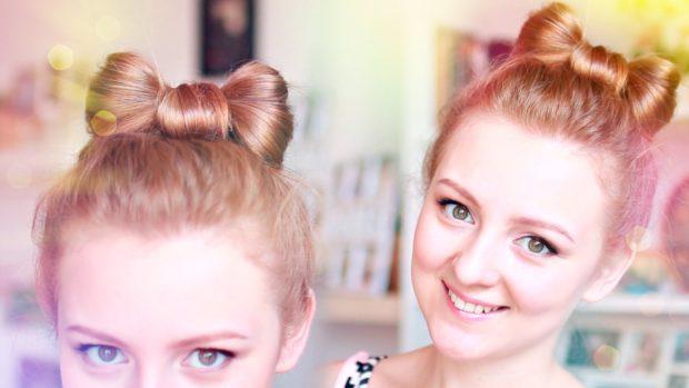 красивые и легкие прически: небольшой бантик из волос