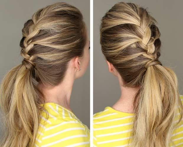 красивые и легкие прически: коса, соединенная с хвостом
