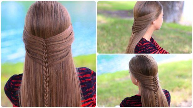 французская коса на распущенные волосы