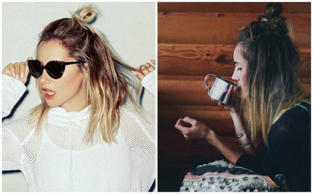 красивые и легкие прически: бокове пряди в пучке на макушке