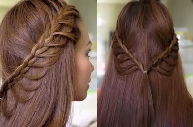легкие прически: коса на распущенных волосах собрана на затылке