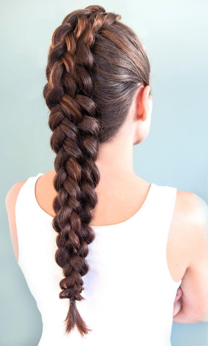 коса на макушке на всю длину волос