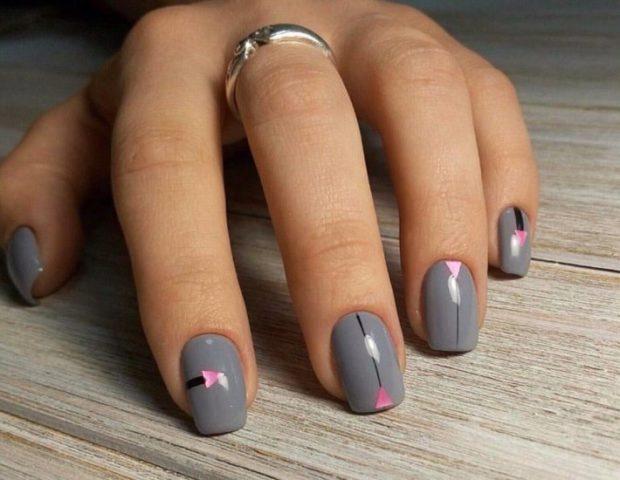 красивый маникюр весна 2019: на короткие ногти серый