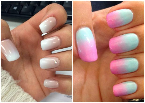 маникюр 2019 модные тенденции фото весна лето: омбре нюдовое розовое с голубым