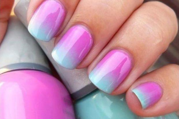 маникюр 2019 модные тенденции фото весна лето: Градиентный розовый с голубым