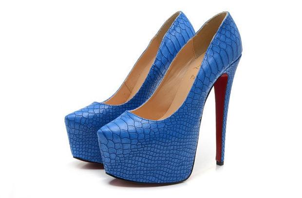 лабутены фото туфли женские: синие с кожи рептилии