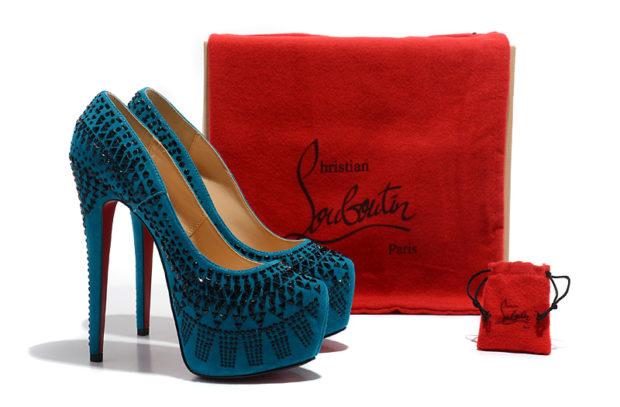 лабутены фото туфли женские: синие с черными камнями и узором