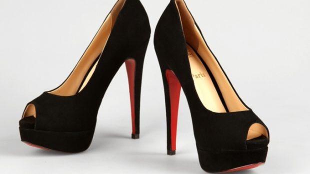 туфли лабутены: черные открытый носок