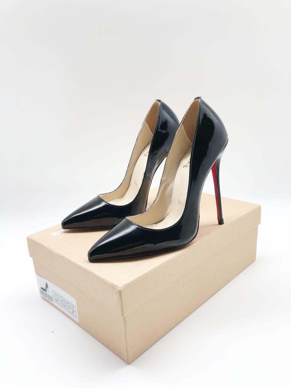 туфли лабутены: черные острый носок кожаные