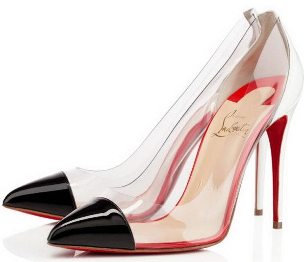 туфли лабутены: прозрачные носок черный