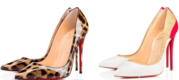 лабутены туфли: тигровые лаковые белые с острым носком